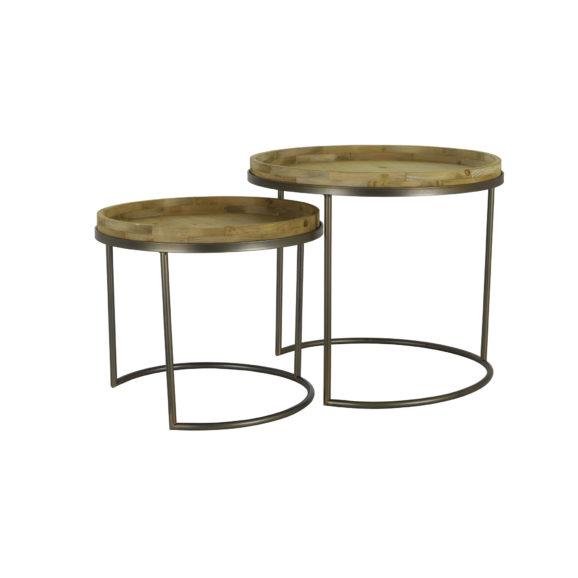 Bijzettafel COPAN - Tin Brons + hout - set van 2 - M