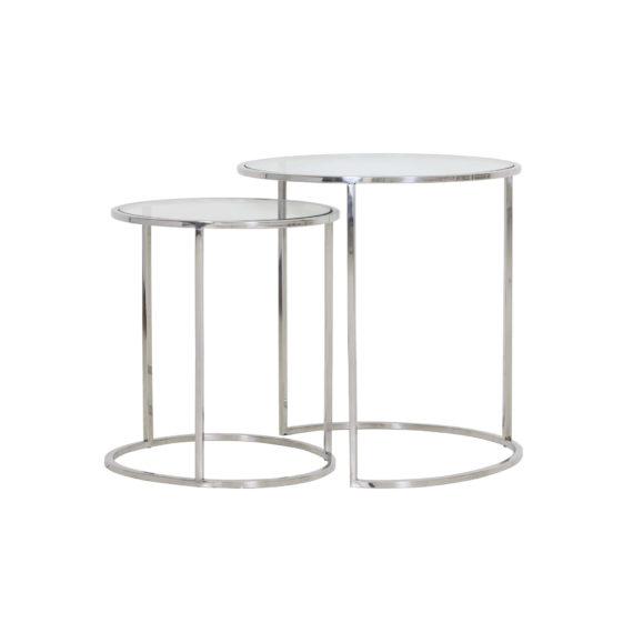 2 Glazen Bijzet Tafeltjes.Bijzettafel Duarte Nikkel Glas Set Van 2