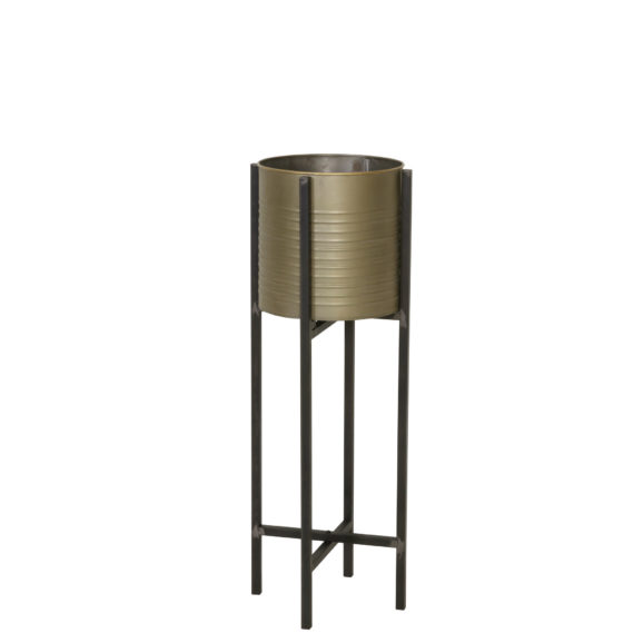 Bloempot deco CAKSI op standaard - tin brons - M