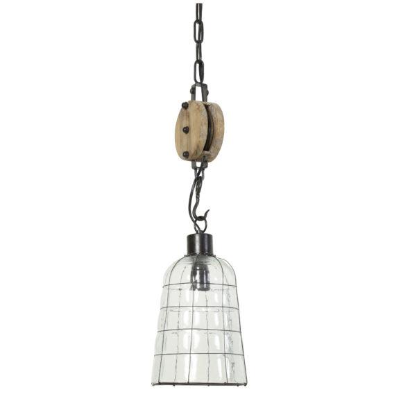 Hanglamp Ø18x58 cm JENTE glas metaal met katrol