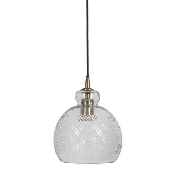 Hanglamp Ø21x20 cm DESTINEY glas antiek brons