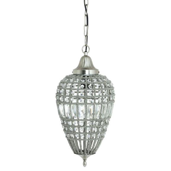 Hanglamp CHARLENE - Nikkel-Kristal Druppel - M