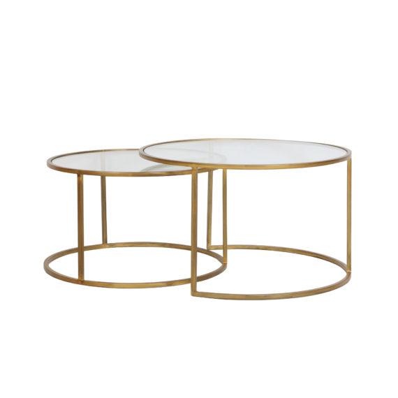 Salontafel DUARTE - glas en antiek goud - set van 2