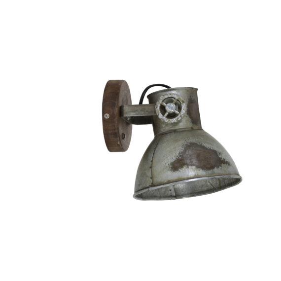 Wandlamp 20x18x19 cm ELAY hout bruin+industrieel