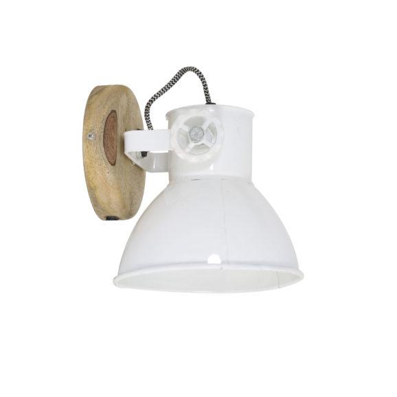 Wandlamp 20x18x19 cm ELAY hout naturel+wit