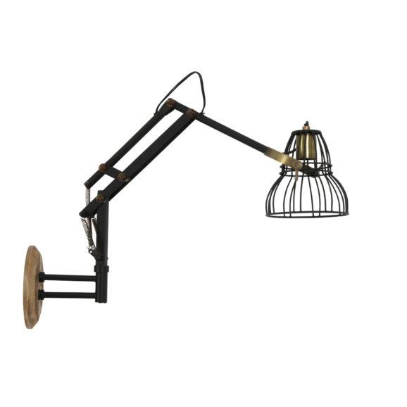 Wandlamp JACKSON - Mat Zwart-Antiek-brons