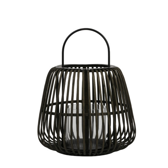 Windlicht MOSTA - bamboe zwart met hendel