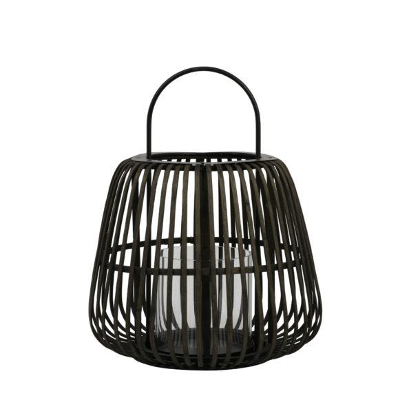Windlicht-MOSTA-bamboe-zwart-met-hendel