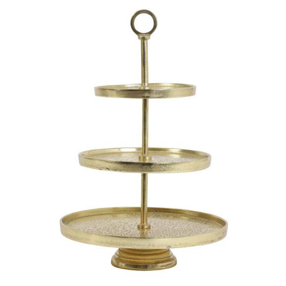 Etagere 3 laags 49 cm LUTEK goud