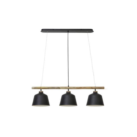 Hanglamp 3L 102x26x30 cm BANU hout zwart