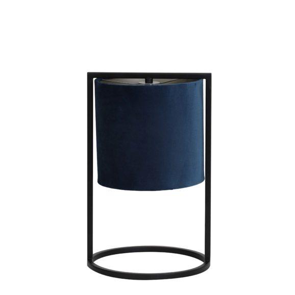 Tafellamp Ø22x35 cm SANTOS mat zwart+kap petrol blauw