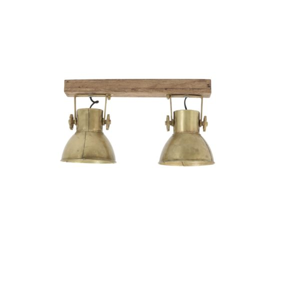 Light & Living - Hang-/wandlamp ELAY - Hout Weather Barn + Brons - 2-Lichtpunten - 3073318