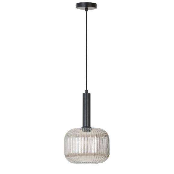 Zwarte moderne hanglamp Linnea in rookglas