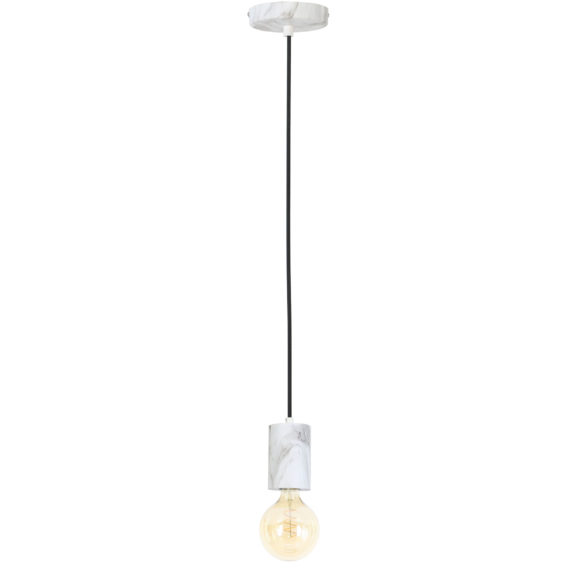 Hanglamp Vidar - Wit Marmer Print - Ø8x120 cm - Incl. Lichtbron