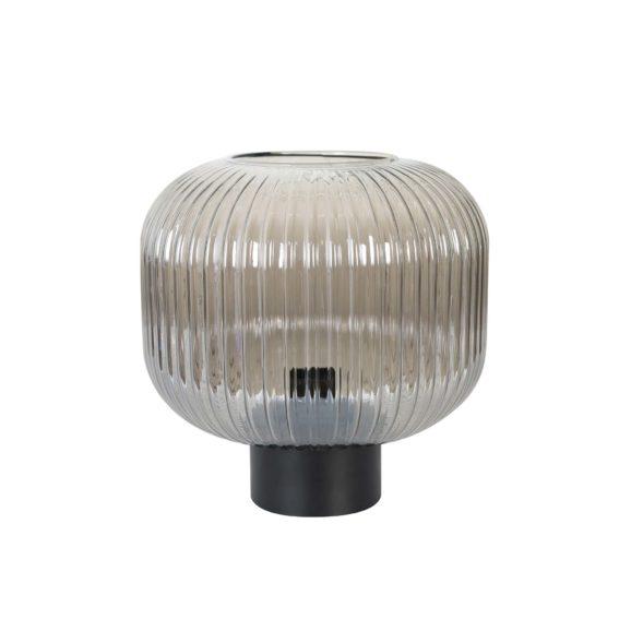 Tafellamp Mat zwart ribbel glas